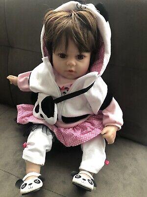 "Newborn Doll Real Lifelike Silicone Reborn Baby Dolls Toddler Girl  Gift 18"" UK"