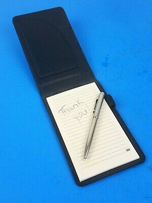 Notebook Notepad Flip Open Note Paper Refillable Black Faux Leather Ink Pen