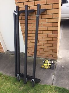 3 x Rhino Roof Racks with rollers for gutter type car