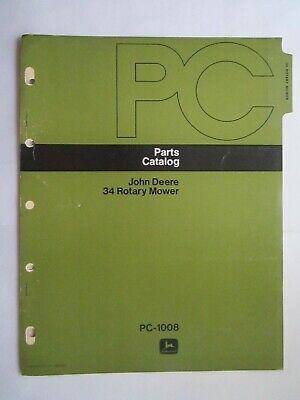 John Deere 70 100 Lawn Garden Tractor 34 Mower Parts Catalog Manual Pc-1008