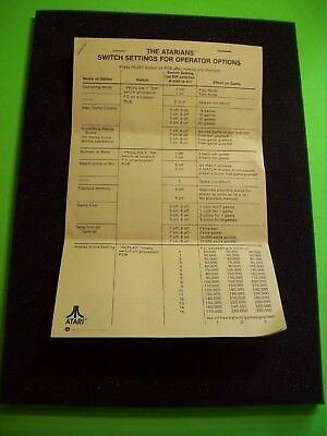 Atari The ATARIANS Original 1977 Pinball Machine Switch Setting For Operators
