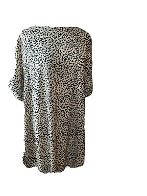 H&M Animal Print Cream Black &Brown Sheath Size 8 Dress