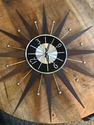 "Vintage 19"" Sunburst Metal Wall Clock- Works Silver Wood Made In Taiwan"