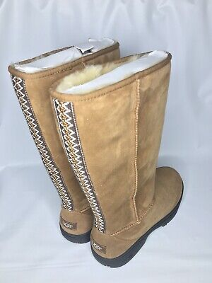 UGG Ultimate Tall Braid Chestnut Suede Fur Boots Womens Size 11 *NIB* for sale  Ventura