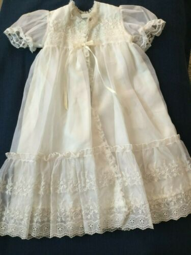 Vintage Phyllis Baby Christening Gown Coat Off White Embroidered