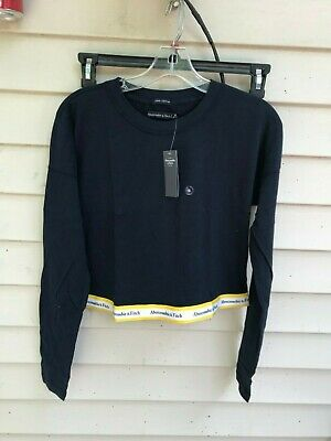 abercrombie fitch LONG-SLEEVE LOGO TAPE TEE WOMENS Navy Blue SIZE M