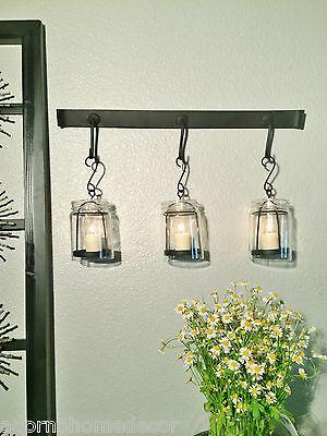 - Vintage Jar Wall Sconce Rustic Modern Cottage Chic Unique Candle Holder Decor