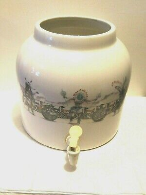 Vintage Big Stoneware Water Crock Faucet Dispenser Dancing Indian Design No Lid ()