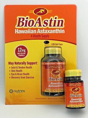 Bioastin Hawaiian Astaxanthin Nutrex Hawaii 12 Mg 120 Cap   Free 12Mg 25 Cap