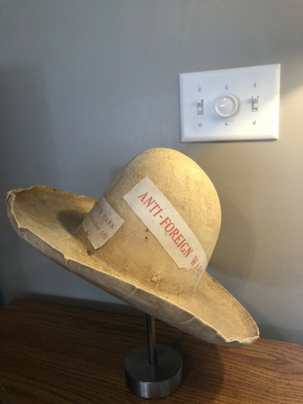 ANTIQUE POLITICAL COWBOY HAT ANTI-FOREIGN WARS - RIVERVIEW PARK SEPT 4TH RARE