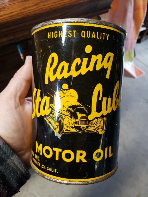 Sta Lube Racing Motor Oil Can Full Quart Vintage Compton California SAE 50