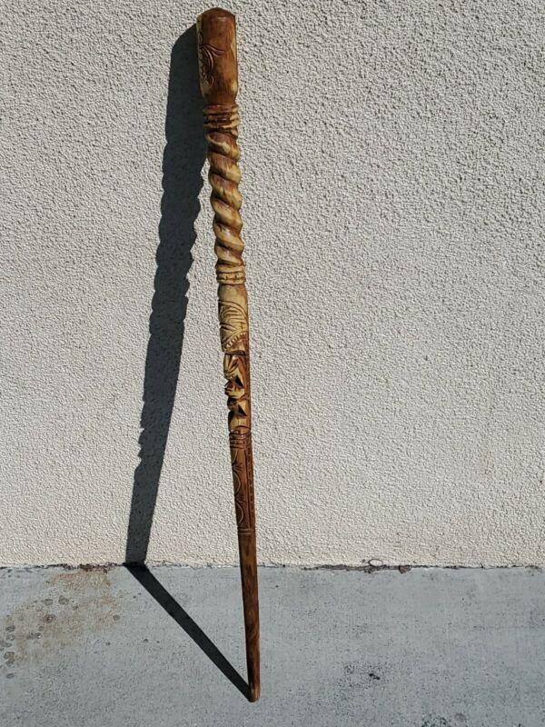 "HAWAII MILO WOOD CARVED HAWAIIAN TIKI WALKING STICK CANE BEAUTIFUL ART 37""Tall"