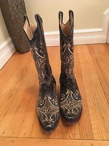 Brown leather square toed women's cowboy boot