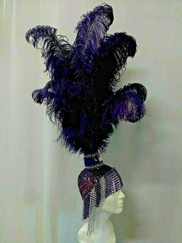 Sequin Purple & Silver Beads Ostrich Feathers Showgirl Headdress Crafted by Tina