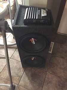 """2 12"""" kicker comp subs in sealed box with amp"""