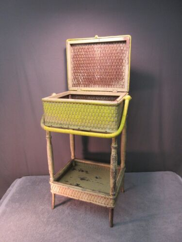 Antique Heywood Wakefield Sewing Stand (wicker rattan basket side table shabby)