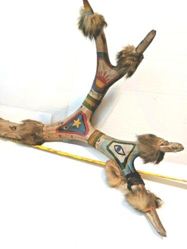 Authentic Old Native American Tribal Artwork - Painting On Deer Antler