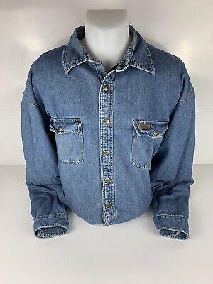 Carhartt Jean Shirt Jacket Fleece Lined Coat Cotton Blue Denim Mens XL Tall