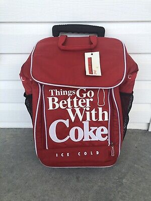 Things Go Better With Coke Coca Cola Cooler Bag Rolling NWT Rare Vintage