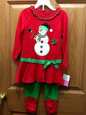 GIRLS SIZE 4 RED AND GREEN SNOWMAN CHRISTMAS SET OUTFIT NEW](Red And Green Outfit)