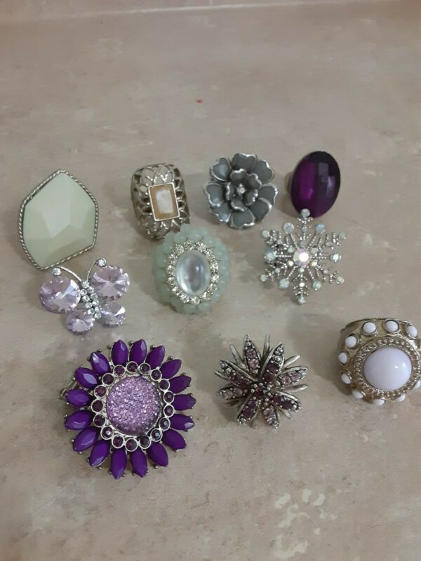 VINTAGE COCKTAIL RINGS LOT OF 10