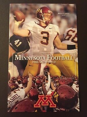 Minnesota Gophers 2006 NCAA football pocket schedule - Star Tribune