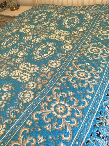 Beautiful Antique Vintage Brocade Turquoise & Beige Reversible Twin Bedspread