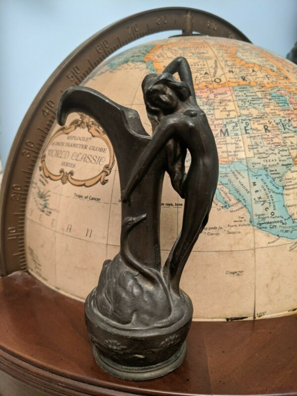 Antique Bronzed Metal Small Case.lady And Swan