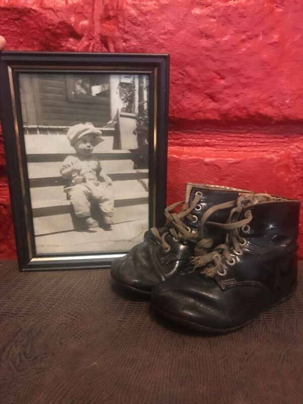 Antique Vintage Leather High top Lace Baby shoes boots Black Photo Wearing C6