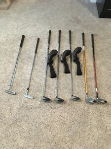 Assorted left handed golf clubs