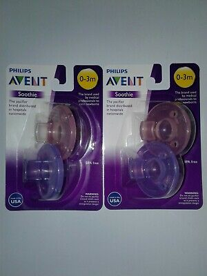 Philips Avent Soothie Pacifier, Pink/Purple, 0-3 Months, 2 Pack - 4 Count
