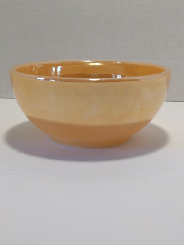 """Vintage 5"""" Fire King Peach Luster Iridescent Bowl Orange Ware Oven USA"""