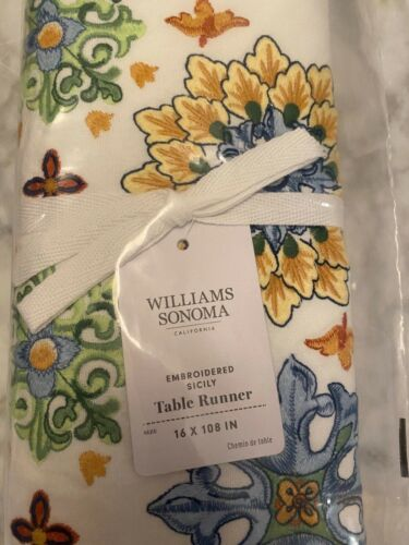 """Williams Sonoma Embroidered Sicily Table Runner 16""""  X 108"""" Blue New"""