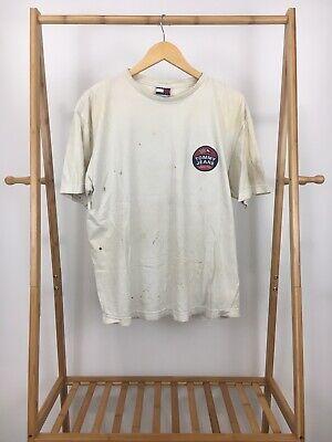 Tommy Hilfiger Men's Circle Logo High Octane Denim Distressed T-Shirt Size L Denim Distressed T-shirt