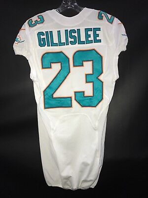 23 MIKE GILLISLEE MIAMI DOLPHINS GAME USED TEAM ISSUED NIKE JERSEY PATRIOTS 608e08c96
