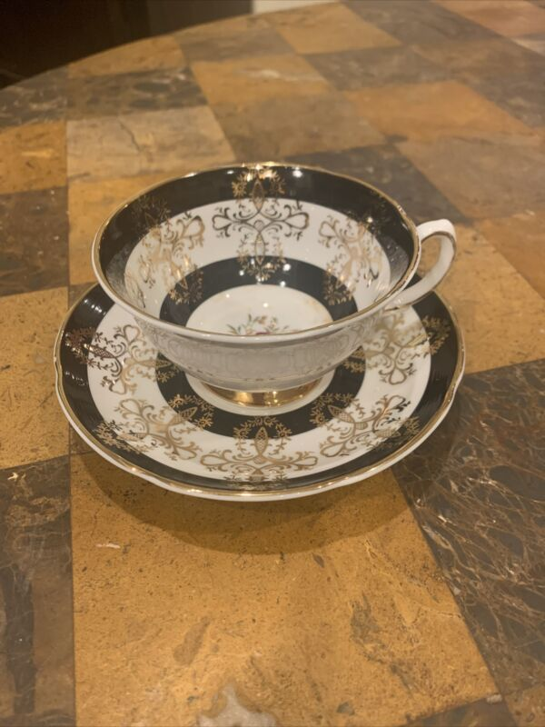 Vintage Royal Grafton Gilded Black Teacup And Saucer. Excellent Condition
