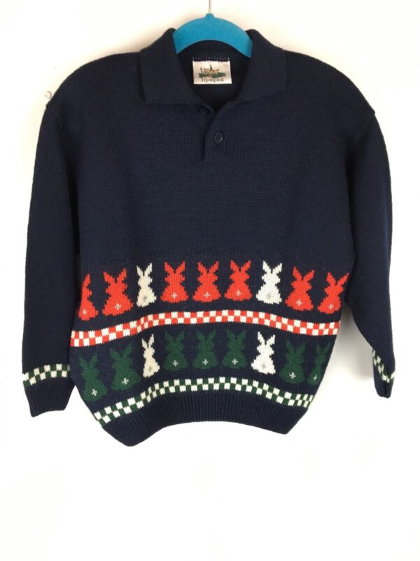 Vintage Hydepark Boys Sweater 4 Blue Multi Rabbit Long Sleeve Collar Wool Italy