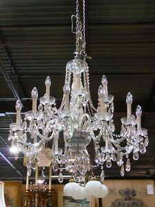 GORGEOUS HUGE 18 ARM CRYSTAL PRISM CHANDELIER ~ DRESDEN LAMPS