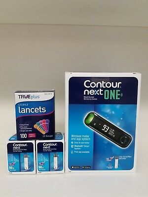 NEW Contour Next ONE Blood Glucose 100 Test Strips + 100 Lancets 33G BONUS METER