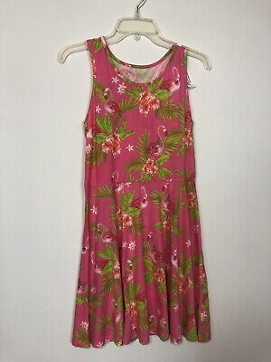 The Childrens Place Pink Flamingoes A Line Dress Youth Size XXL -16 Years Skater