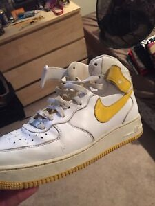 Yellow and white Air Force 1 high tops