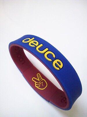 Men's silicone stretchy bracelet (navy blue/cherry colour). Free P&P