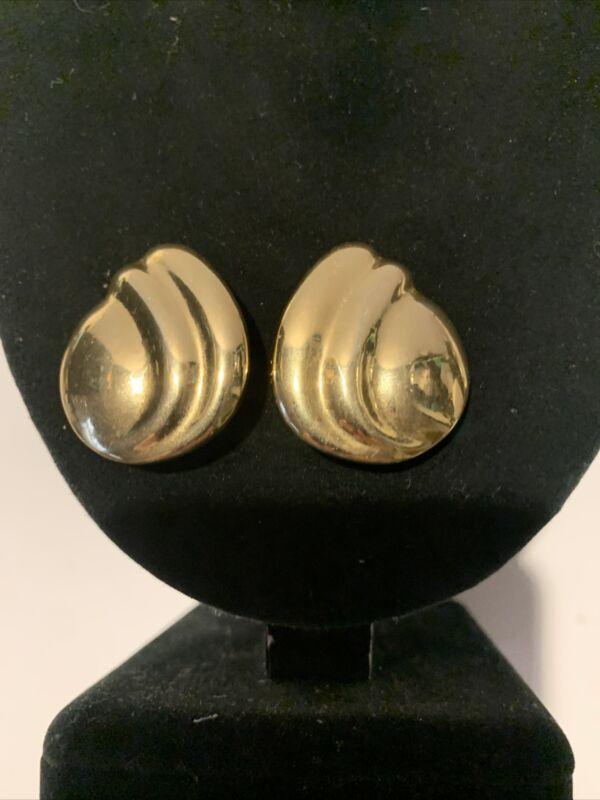 "VINTAGE SHINY GOLD TONE SWIRL DESIGN CLIP ON EARRINGS 1 1/4"""