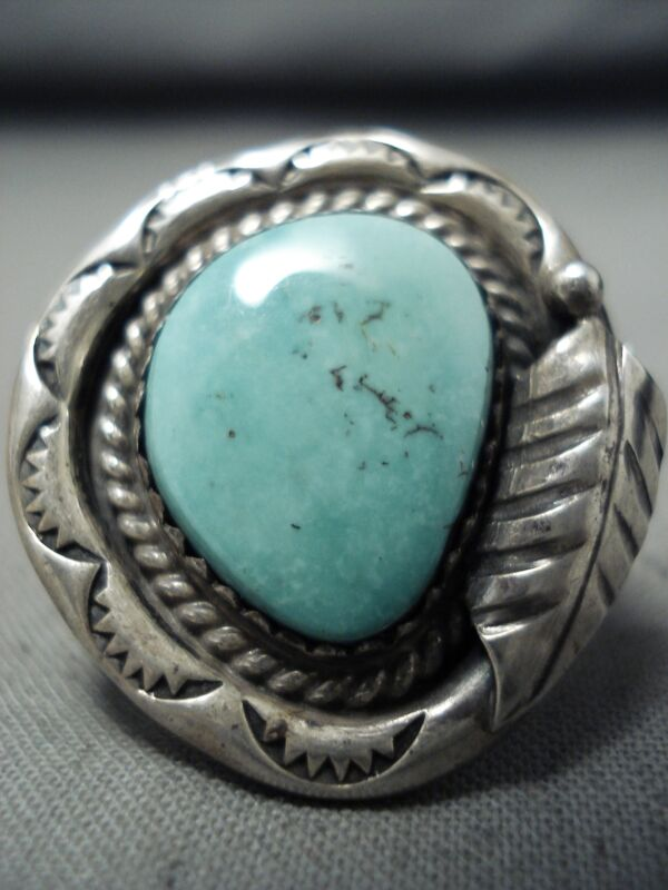 SUPERIOR VINTAGE NAVAJO TURQUOISE STERLING SILVER RING