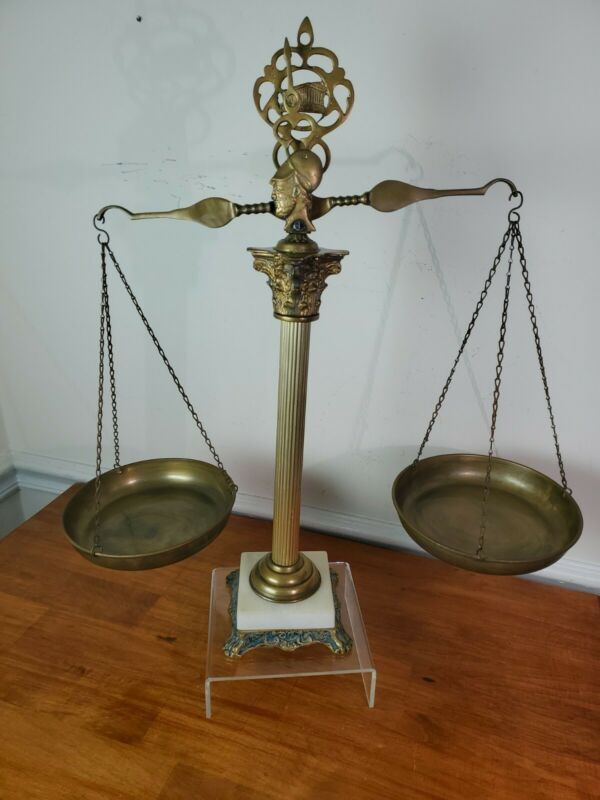 Scales of Justice Vintage Antique Lawyer Scale Brass White Marble