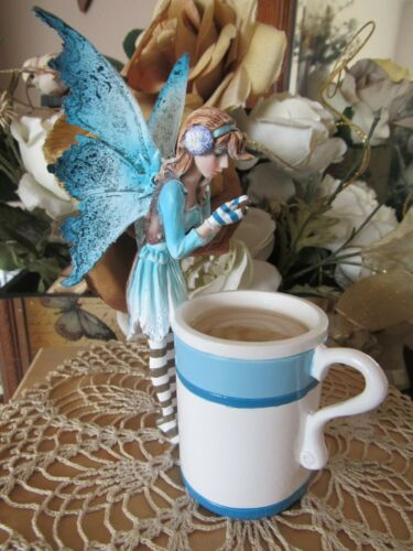 Amy Brown HOT COCOA Cup Fairy Figurine in Blue by Pacific Giftware New in Box