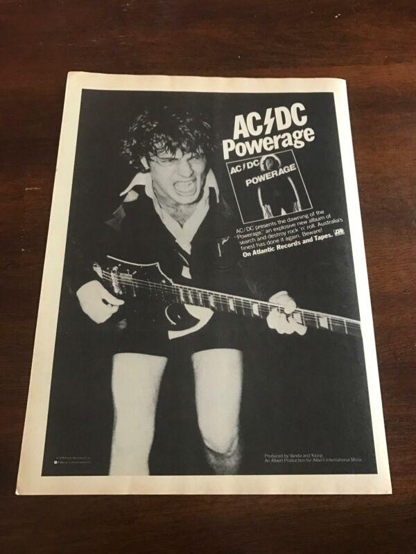"1978 VINTAGE 8X11 ALBUM PROMO PRINT Ad FOR AC/DC ""POWERAGE"" ANGUS YOUNG"