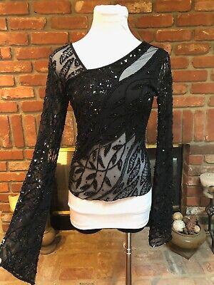 Runway Steampunk Cache Black Mesh Heavily Beaded Sequin Dress Shirt Top sz Small
