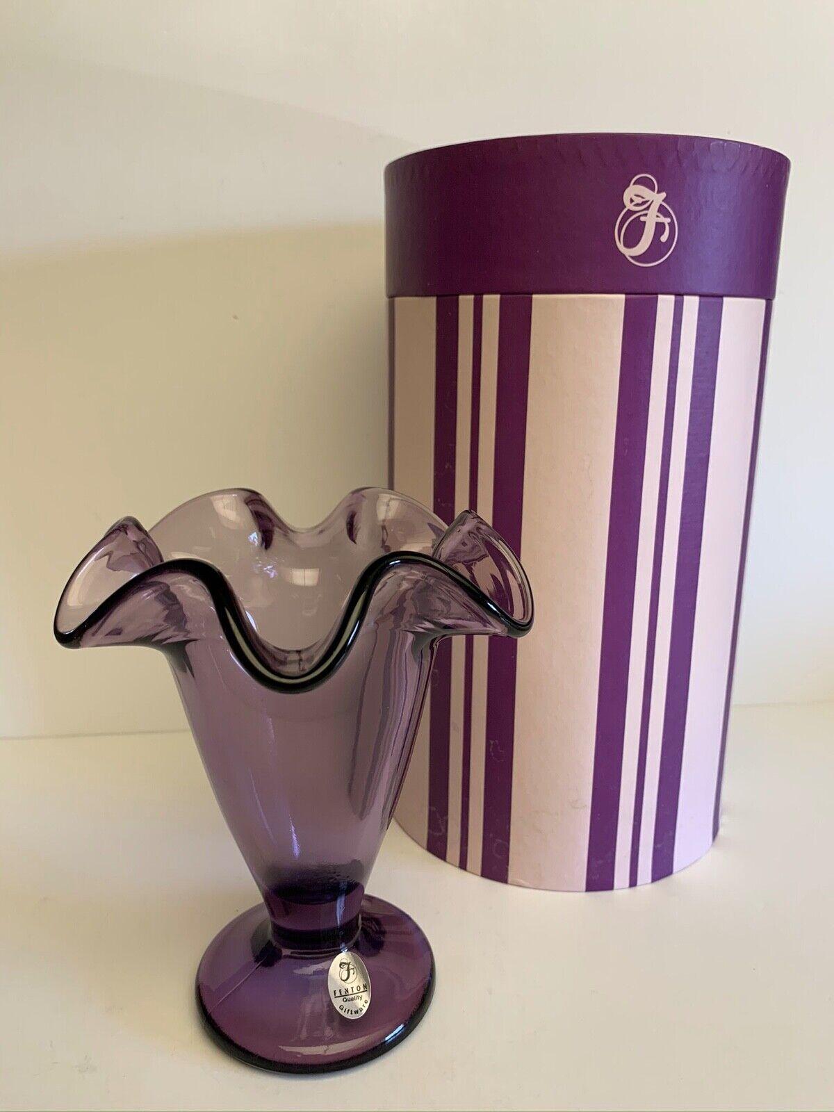 Fenton Violet 6 Vase New In Box - $14.99