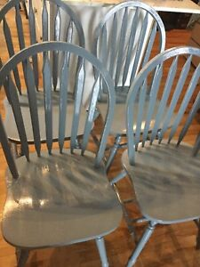 4 blue wood chairs- available